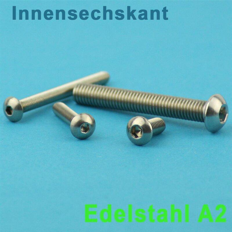 10 St/ück rostfrei | Flachkopfschrauben DERING Linsenkopfschrauben M8 X 120//120 mit Innensechskant ISO 7380 Edelstahl A2