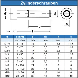 10 St/ück Zylinderschrauben M1,6 X 6 mit Innensechskant DIN 912 Edelstahl A2